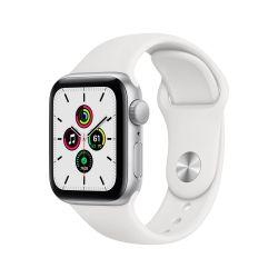 Apple Watch SE GPS, 40mm boitier aluminium argent avec bracelet sport blanc