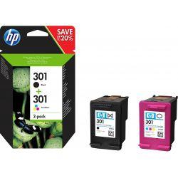 Cartouche d'encre HP pack 301 Noir + 3 couleurs