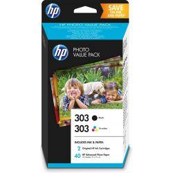 HP Value Pack Photo 303 Noir/trois couleurs (40 feuilles, 10 x 15 cm)