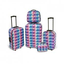 KINSTON Set de 3 Valises Souple 4 Roues 50-61-71cm + 2 Vanity 23,5-28cm Multicolore