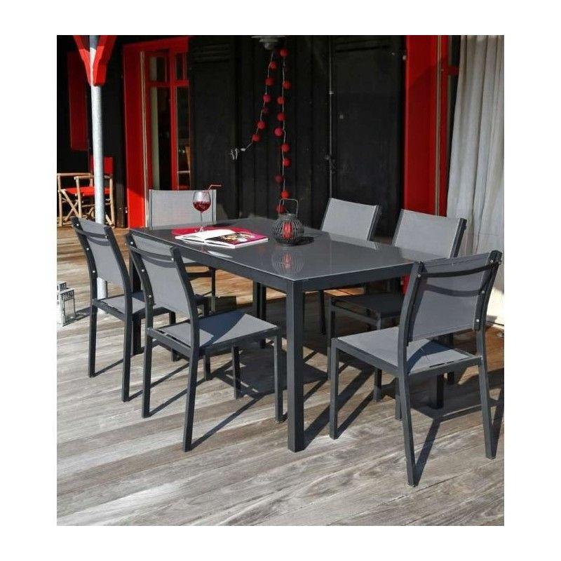 Ensemble table de jardin 180 cm + 6 chaises aluminium