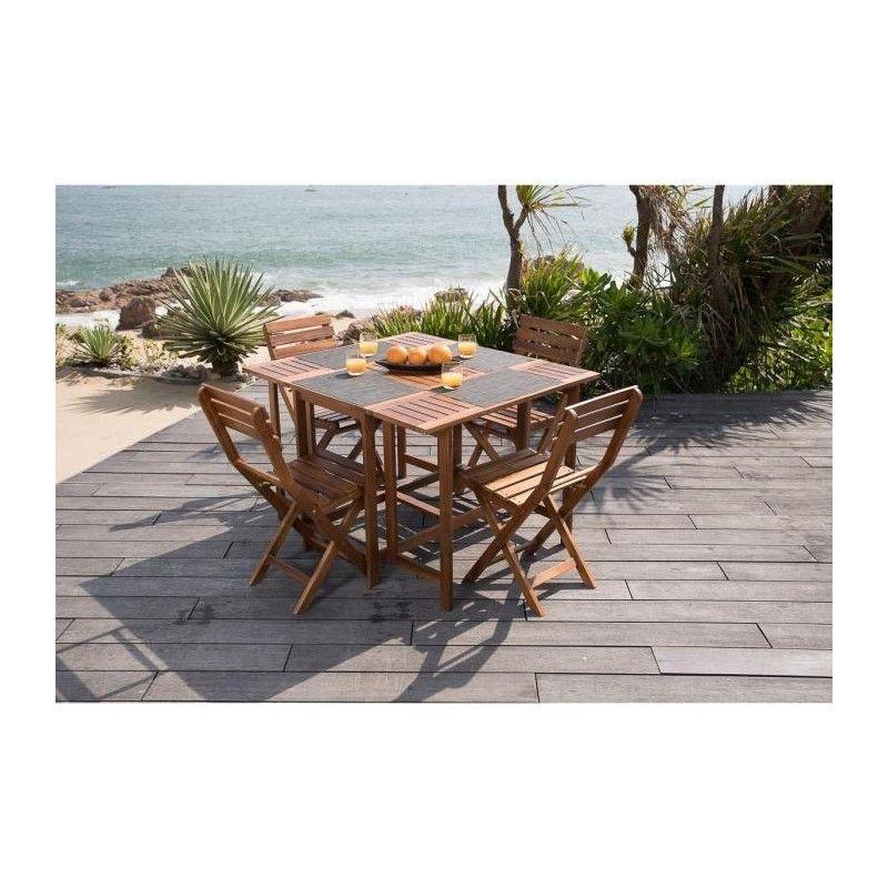 set de table carr 4 chaises pliantes en acacia fsc. Black Bedroom Furniture Sets. Home Design Ideas