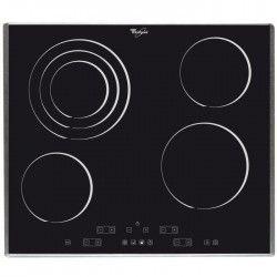 WHIRLPOOL - AKT 864 IX - Table de cuisson vitrocéramique - 4 zones - 6400 W - L 58 x P 51 cm - Revetement verre - Noir