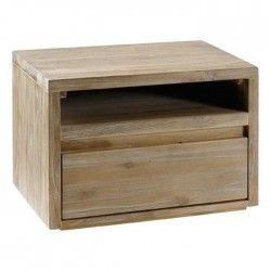 TEKA Chevet contemporain en bois teck massif sablé et verni gris clair - L 50 cm