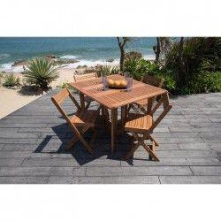 Set de Console 1 table + 4 fauteuils en eucalyptus FSC