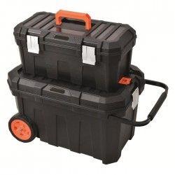 TOOD Malle de chantier avec boite a outils 58x37x36/ 50x26x22 cm