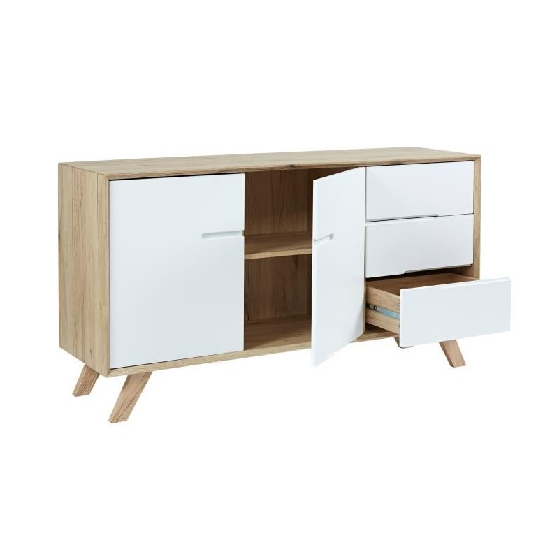 nora buffet bas scandinave pieds pin massif biseaut d cor chene son. Black Bedroom Furniture Sets. Home Design Ideas
