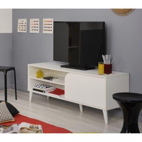 COLOR Meuble TV vintage décor blanc - L 130 cm