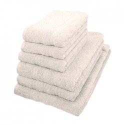 Set de bain éponge 6 pieces 100% coton blanc