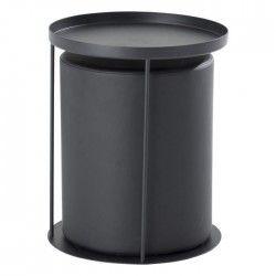 THEA bout de canapé avec pouf intégré style contemporain en métal laqué noir - L 42 x l 42 cm