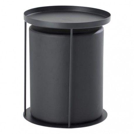 en promo thea bout de canap avec pouf intgr style contemporain en mtal laqu noir l 42 - Canape Avec Pouf Integre