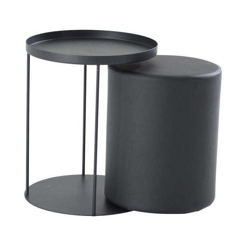 thea bout de canap avec pouf intgr style contemporain en mtal laqu noir l 42 - Canape Avec Pouf Integre