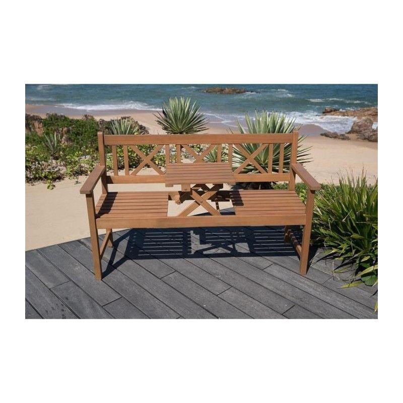 banc de jardin ou terrasse 3 places avec plateau en bois. Black Bedroom Furniture Sets. Home Design Ideas