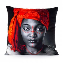 MARLENE BACKER Coussin déhoussable Fara 45x45 cm orange et gris