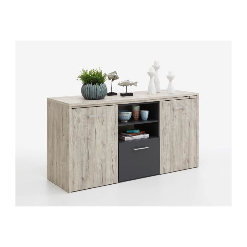 liam bureau convertible en buffet 153 cm d cor chene sable et anthr. Black Bedroom Furniture Sets. Home Design Ideas