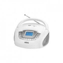 AEG SR 4373WH Boombox Radio Stéréo Aux-In + USB Port - Blanc
