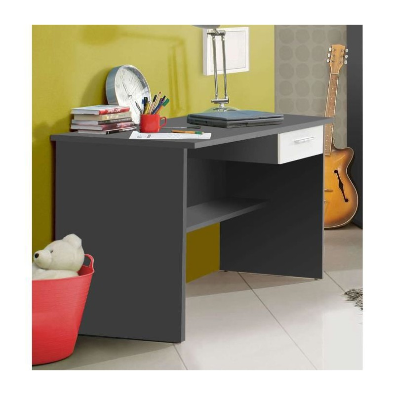 lupo bureau 110 cm gris blanc. Black Bedroom Furniture Sets. Home Design Ideas