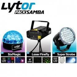 LYTOR SAMBA Pack Jeux de Lumiere - Laser Firefly + Super Strobe + SixMagic - 3 Pieces