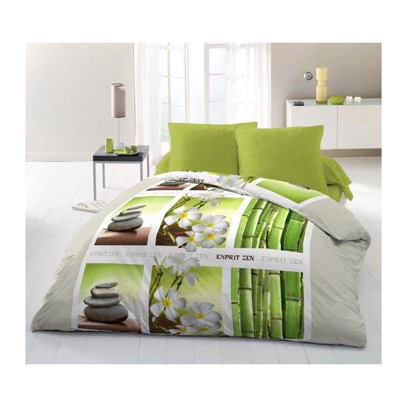 couette imprim e microfibre esprit zen 220x240 cm vert gris et blanc. Black Bedroom Furniture Sets. Home Design Ideas