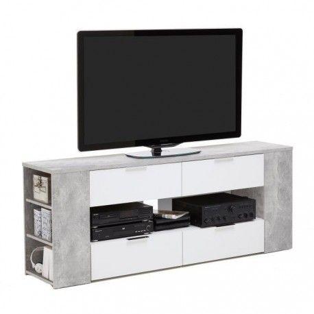 Tabor Meuble Tv Contemporain Melamine Decor Gris Effet Beton Et Blanc L 180 Cm