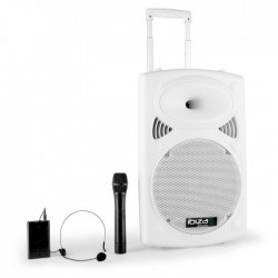 "IBIZA PORT12VHF-BT-WH Systeme de sonorisation portable autonome 12""/30cm avec USB-MP3/REC/Bluetooth/VOX/2 MICROS VHF"