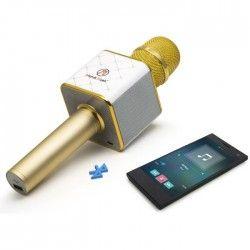 MUSICMAN BT-X31 Microphone Karaoké Bluetooth avec haut-parleur stéréo - Or/Blanc