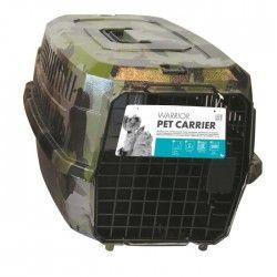 MPETS Cage de transport Warrior - Pour chien - 58x40x26,5cm - Vert Kaki