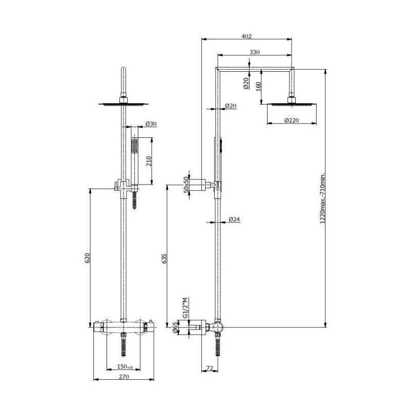 sarodis colonne de douche linea 22 avec mitigeur. Black Bedroom Furniture Sets. Home Design Ideas