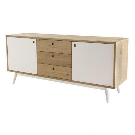 buffet bas scandinave placage bois chene bross et. Black Bedroom Furniture Sets. Home Design Ideas