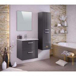 STELLA Ensemble salle de bain simple vasque L 60 cm - Laqué gris brillant