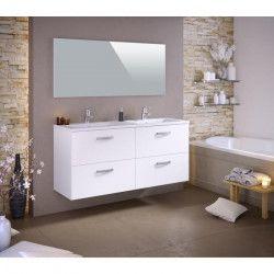 STELLA Ensemble salle de bain double vasque L 140 cm - Blanc mat