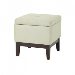 CORMORANT Tabouret coffre pouf de salon en bois massif - Revetement tissu pouf beige - Classique - L 47 x P 47 cm