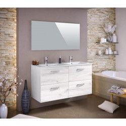 STELLA Ensemble salle de bain double vasque L 120 cm - Décor bois blanchi