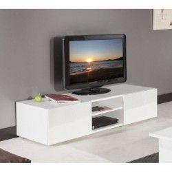 LIME Meuble TV 140cm portes laquées blanc