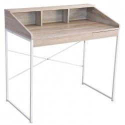 MALO Bureau console contemporain mélaminé décor bois + pieds en métal blanc - L 90 cm