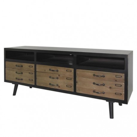 loft meuble tv vintage marron pieds bois pin massif. Black Bedroom Furniture Sets. Home Design Ideas