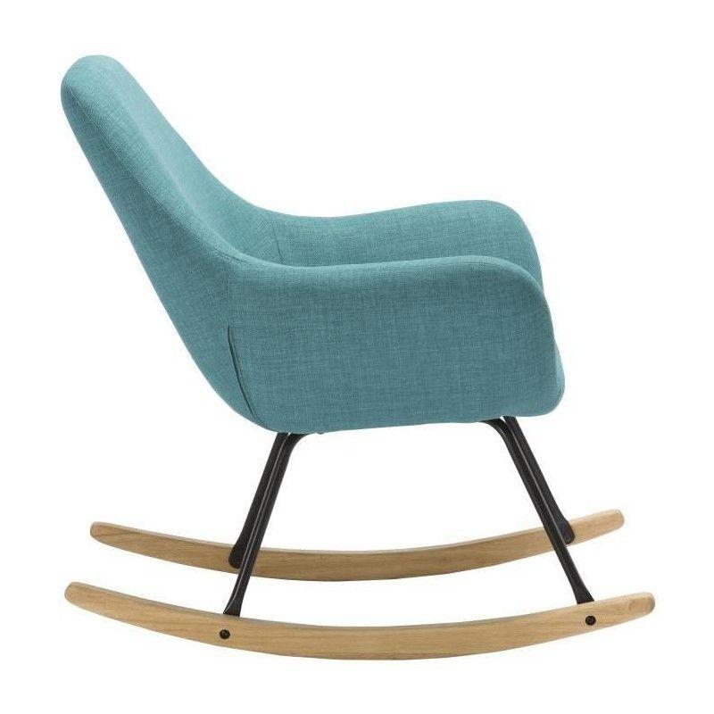 Norton Fauteuil Rocking Chair Tissu Bleu Pieds