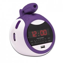 METRONIC 4774013 Radio Réveil a projection - 0,5 W - Led rouge - Lilas