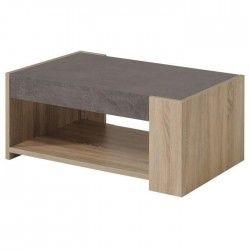 BOSTON Table basse style contemporain décor chene brut et béton - L 90 x l 59 cm