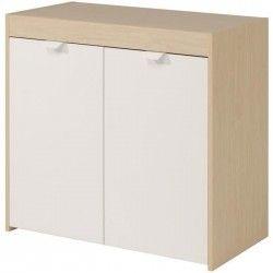 SWING Buffet bas classique décor érable et blanc - L 80 cm