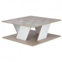BALTIC Table basse carrée scandinave décor chene et blanc - L 80 cm