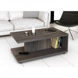 ETNEA Table basse style contemporain Décor prunier - L 89 x l 35 cm