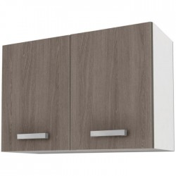 START Meuble de cuisine haut L 80 cm - Blanc et décor chene taupe