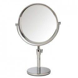 GERSON Miroir téléscopique sur pied grossissant - Chromé - Ø 18 cm - H33 a 40 cm