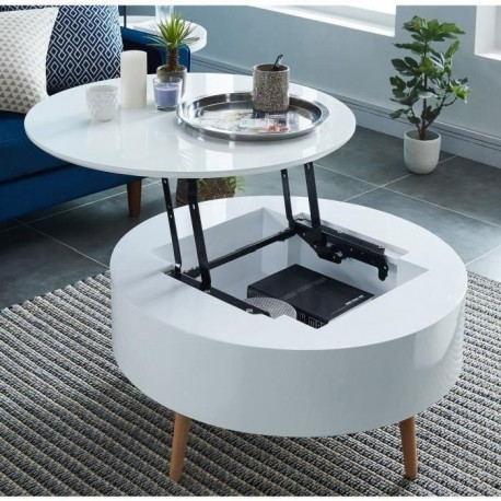 Leonie Table Basse Relevable Style Contemporain Laquee