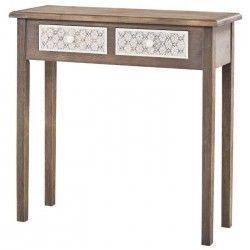 VIRGINIA Console romantique gris et blanc + plateau placage bois Paulownia verni - L 80 cm