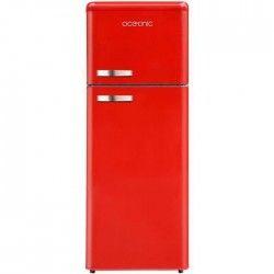 OCEANIC OCEAF2D210VR-Réfrigérateur congélateur haut-210L (166+44)-Froid statique-A+-L54,5xH145,6cm-Rouge