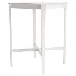 Table bar 2 a 4 personnes style contemporain pieds en bois Hévéa massif et plateau en MDF laqué blanc mat - l 75 x L