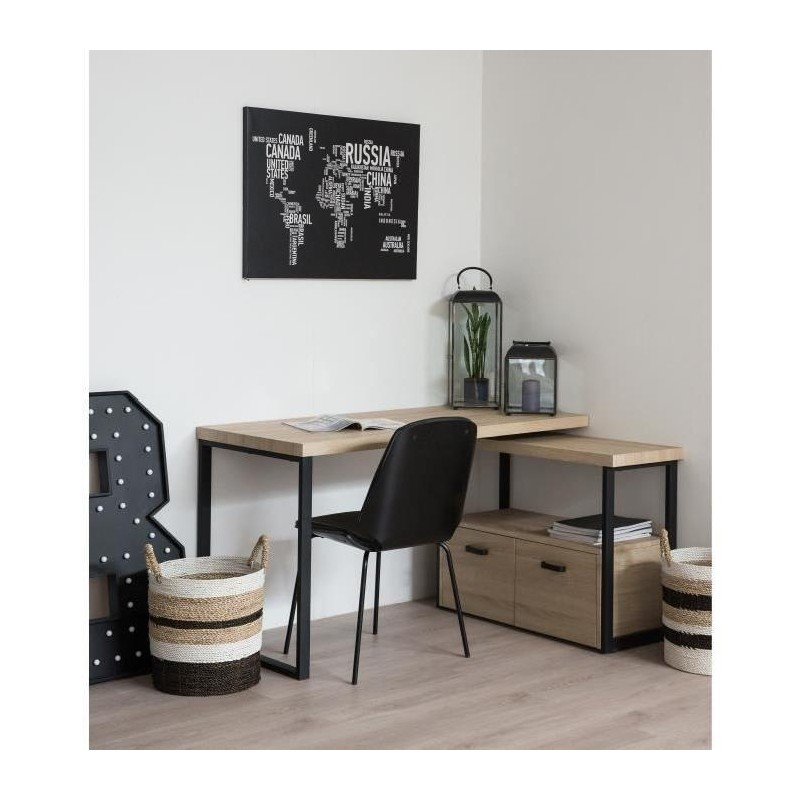 urban bureau d angle scandinave en m tal noir. Black Bedroom Furniture Sets. Home Design Ideas