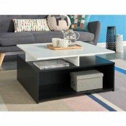 ASTRID Table basse style contemporain mélaminée blanc et noir - L 80 x l 80 cm